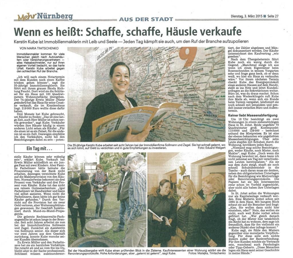Bericht über Kerstin Kube - Nürnberger Nachrichten vom 3. März 2015